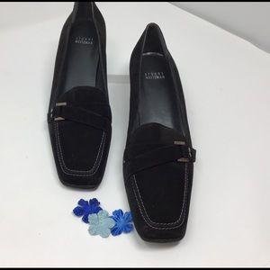 Black suede kitten heel Stuart Weitzman shoes